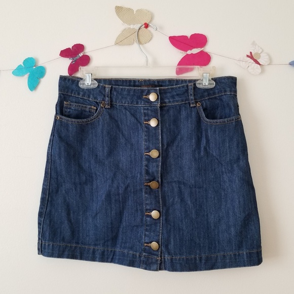 86e3f6caf Forever 21 Skirts | Contemporary Denim Buttoned Skirt | Poshmark
